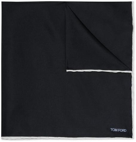 TOM FORD - Contrast-Tipped Silk-Twill Pocket Square - Men - Midnight blue