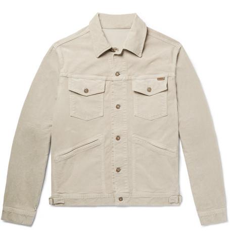 TOM FORD - Cotton-Blend Corduroy Trucker Jacket - Men - Beige