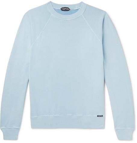 TOM FORD - Garment-Dyed Loopback Cotton-Jersey Sweatshirt - Men - Blue