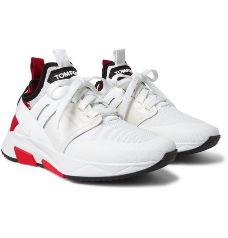 TOM FORD - Jago Neoprene, Suede and Mesh Sneakers - Men - White