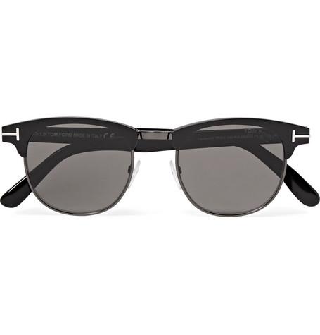TOM FORD - Laurent D-Frame Acetate and Gunmetal-Tone Polarised Sunglasses - Men - Black