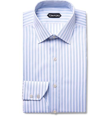 TOM FORD - Light-Blue Slim-Fit Striped Cotton Shirt - Men - Light blue
