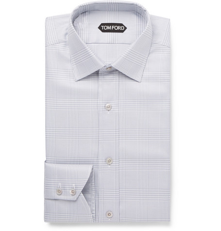 TOM FORD - Light-Grey Slim-Fit Prince of Wales Checked Cotton Shirt - Men - Gray