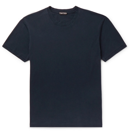 TOM FORD - Lyocell and Cotton-Blend Jersey T-Shirt - Men - Navy