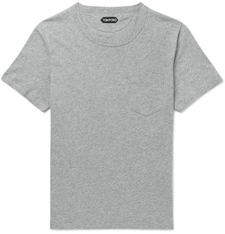 TOM FORD - Mélange Cotton-Jersey T-Shirt - Men - Gray