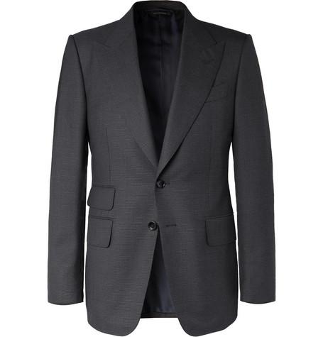 TOM FORD - Navy Shelton Slim-Fit Puppytooth Wool Suit Jacket - Men - Navy