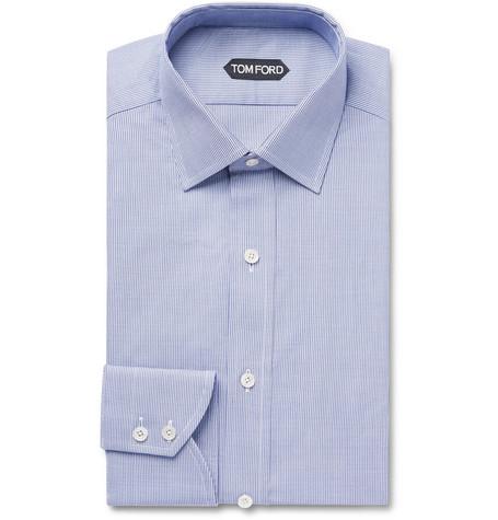 TOM FORD - Navy Slim-Fit Puppytooth Cotton Shirt - Men - Navy
