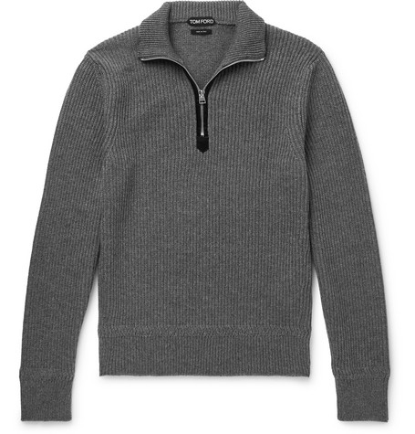 TOM FORD - Ribbed Wool and Cashmere-Blend Half-Zip Sweater - Men - Gray
