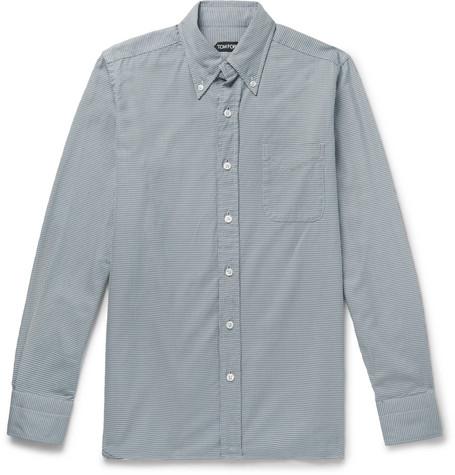 TOM FORD - Slim-Fit Button-Down Collar Puppytooth Cotton Shirt - Men - Gray