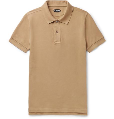 TOM FORD - Slim-Fit Garment-Dyed Cotton-Piqué Polo Shirt - Men - Camel