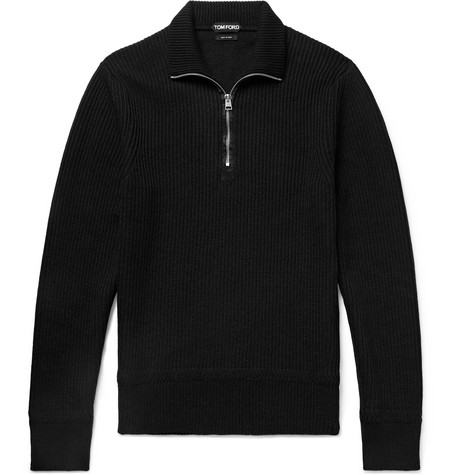 TOM FORD - Slim-Fit Ribbed Merino Wool and Cashmere-Blend Half-Zip Sweater - Men - Black