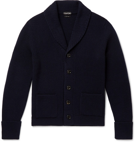 TOM FORD - Slim-Fit Shawl-Collar Ribbed Cashmere Cardigan - Men - Navy
