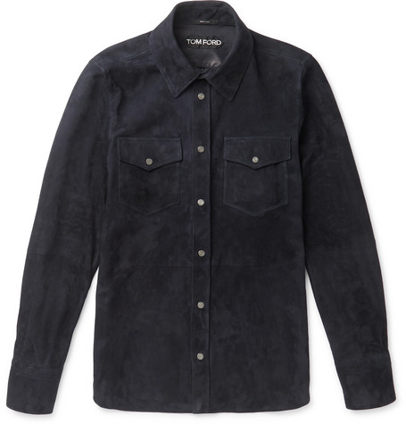 TOM FORD - Slim-Fit Suede Shirt - Men - Midnight blue