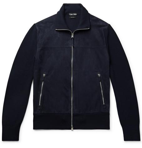 TOM FORD - Slim-Fit Suede and Wool Jacket - Men - Navy