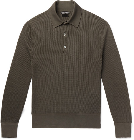 TOM FORD - Slim-Fit Waffle-Knit Cotton-Blend Polo Shirt - Men - Green