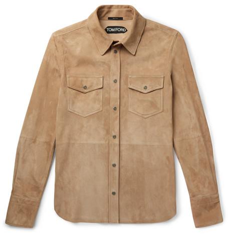 TOM FORD - Suede Shirt Jacket - Men - Tan
