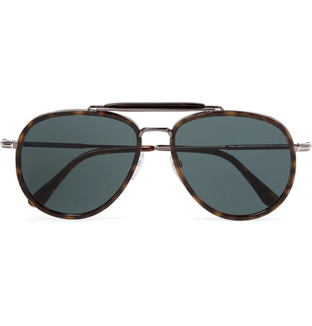 TOM FORD - Tripp Aviator-Style Tortoiseshell Acetate and Silver-Tone Sunglasses - Men - Tortoiseshell