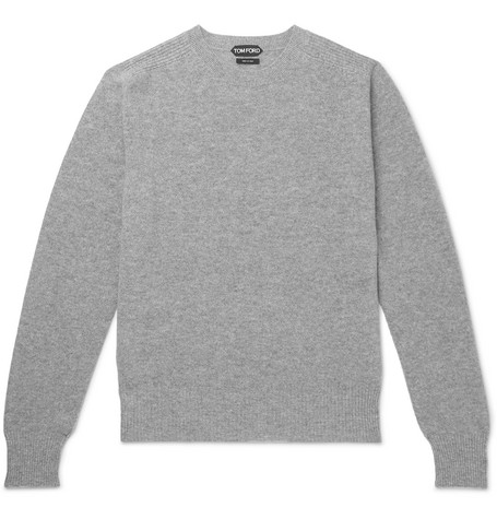 TOM FORD - Waffle-Knit Mélange Cashmere Sweater - Men - Gray
