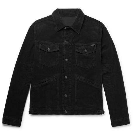 TOM FORD - Washed Cotton-Blend Corduroy Trucker Jacket - Men - Black