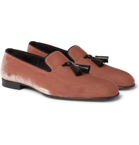 TOM FORD - William Leather-Trimmed Velvet Tasselled Loafers - Men - Pink