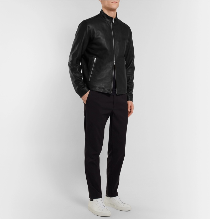 Theory Morvek Slim-Fit Leather Jacket $995