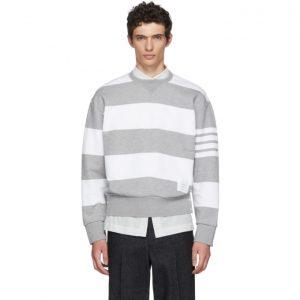 Thom Browne Grey Striped Cotton Sweatshirt