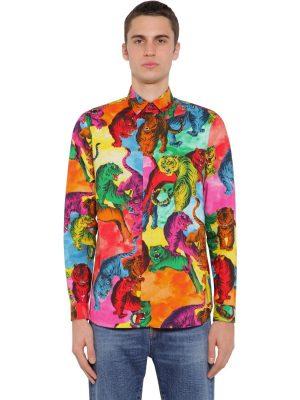 Tiger Print Cotton Poplin Shirt