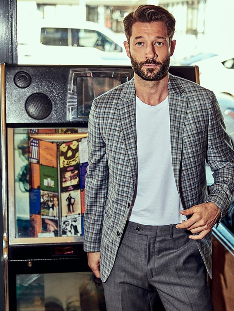 John Halls wears a Todd Snyder White Label tropical wool multi check Sutton sport coat $448 with dark charcoal suit trousers $198.