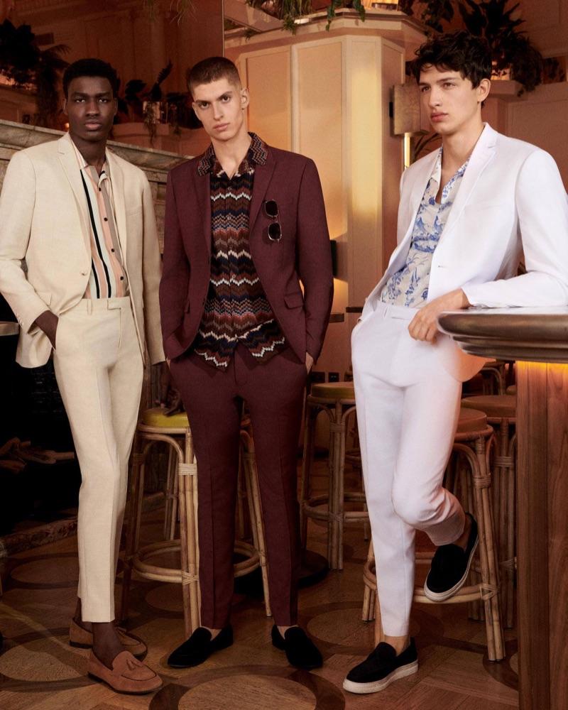 Michael Chima, Azim Osmani, and Romain Hamdous embrace a retro attitude in Topman suits.