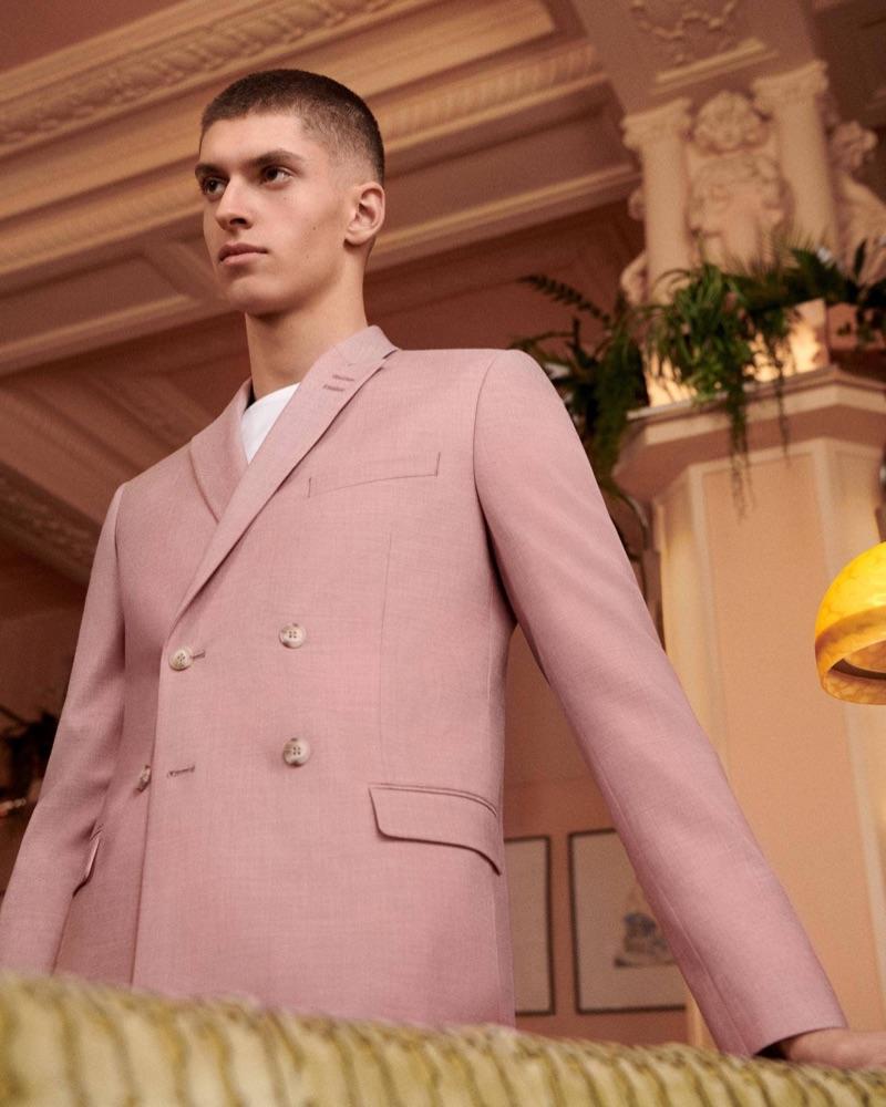 A spring vision, Azim Osmani fronts Topman's suit campaign.