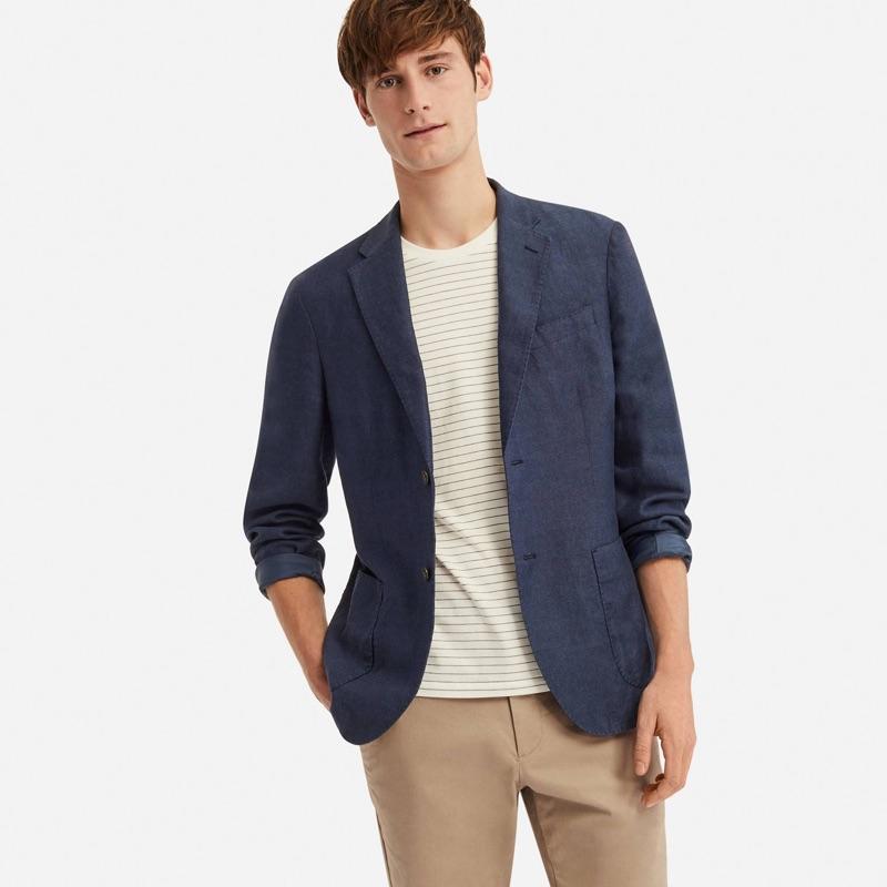 Matt Doran models a UNIQLO linen cotton slim-fit jacket $69.90.