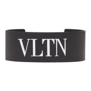 Valentino Black Valentino Garavani Metal VLTN Cuff Bracelet