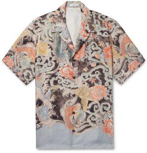 Valentino - Camp-Collar Printed Silk-Twill Shirt - Men - Blue
