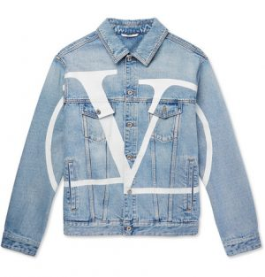 Valentino - Distressed Logo-Print Denim Jacket - Men - Light blue