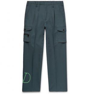 Valentino - Pleated Logo-Print Tech-Jersey Cargo Trousers - Men - Green