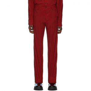 Valentino Red Plisse Trousers