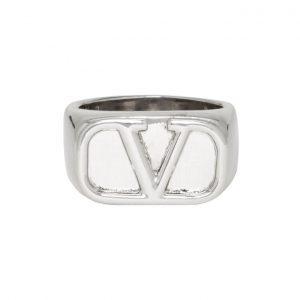 Valentino Silver Valentino Garavani VLogo Ring