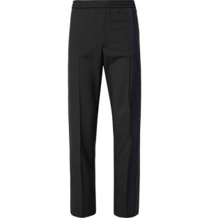 Valentino - Striped Wool and Mohair-Blend Drawstring Trousers - Men - Black