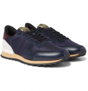 Valentino - Valentino Garavani Rockrunner Mesh, Leather and Suede Sneakers - Men - Navy
