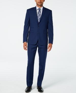 Vince Camuto Men's Slim-Fit Stretch High Blue Tonal Grid Wool Suit