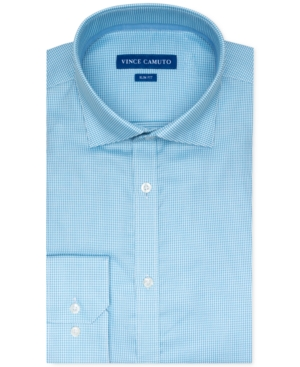 Vince Camuto Men's Slim-Fit Stretch Turquoise Dobby Dress Shirt