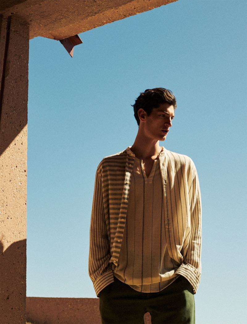 A sleek vision, Aaron Shandel wears linen tops from Zara Man.