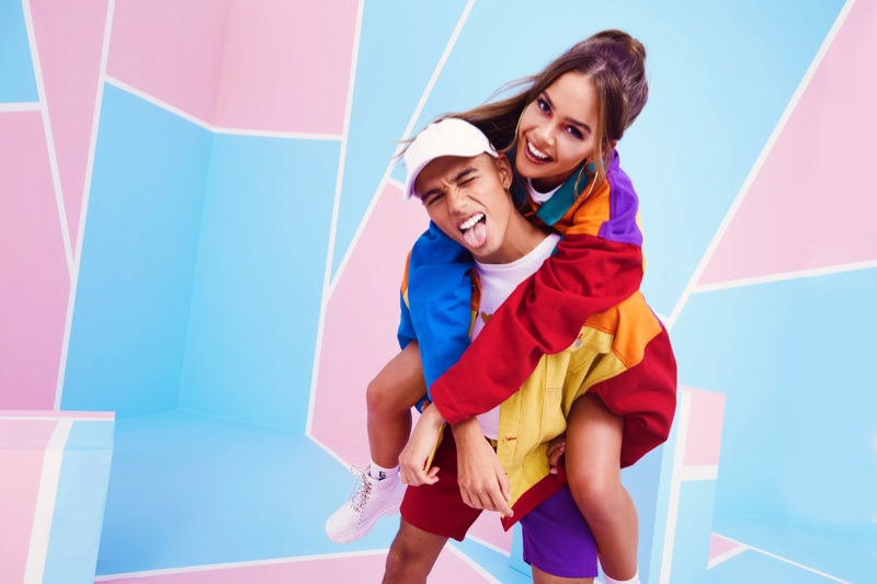 Models Freya Haworth and Shae Pulver come together in color blocked fashions from boohoo/boohooMAN's Pride 2019 campaign.