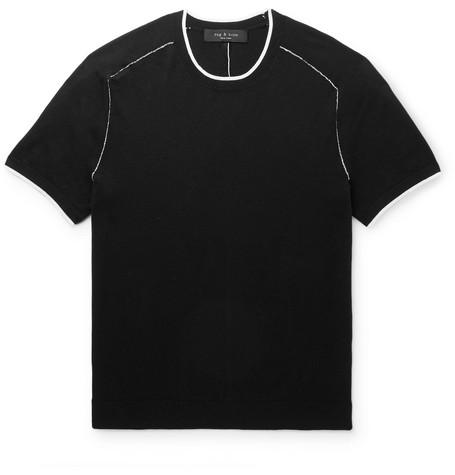 rag & bone - Evens Contrast-Tipped Cotton, Silk and Cashmere-Blend T-Shirt - Men - Black