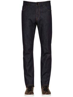 17.5cm Patch Ff Slim Cotton Denim Jeans