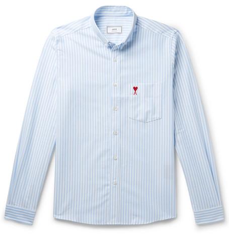 301a3894d80e AMI – Button-Down Collar Logo-Appliquéd Striped Cotton Oxford Shirt – Men –  Blue