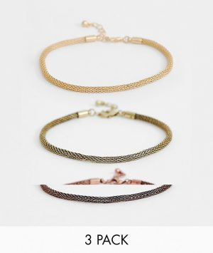 ASOS DESIGN 3 pack mesh chain bracelets in gold tone - Gold