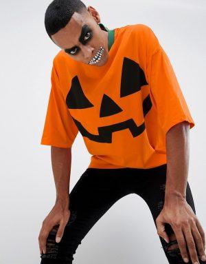 ASOS DESIGN Halloween oversized t-shirt with pumpkin print and half sleeve - Orange