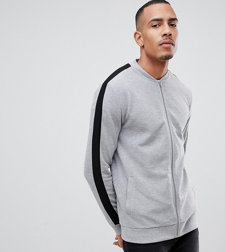 589e83c4d ASOS DESIGN Tall jersey rib bomber jacket with side stripe in gray - Gray