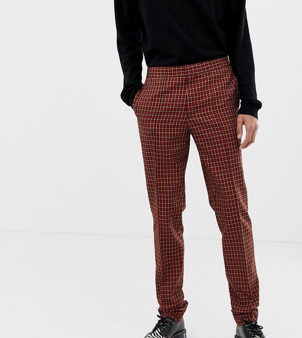 ASOS DESIGN Tall skinny smart pants in micro red and orange check - Red